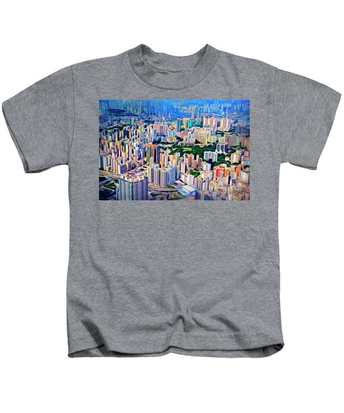 Crowded Hong Kong Abstract Kids T-Shirt