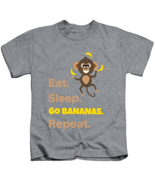 Cute Animal Money Juggling With Text Eat Sleep Go Bananas Popular Quote Kids T-Shirt
