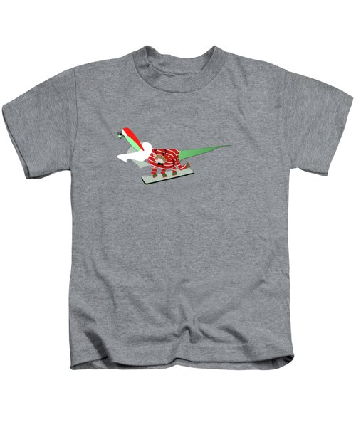 Dinosaur Snowboarding In Ugly Christmas Jumper Kids T-Shirt