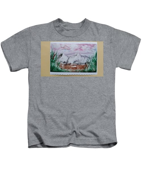 Distant Impressionistic Mountains Kids T-Shirt
