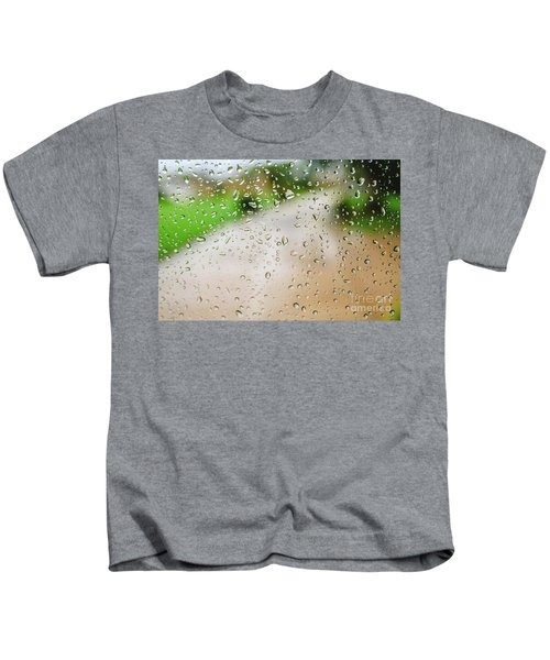 Drops Of Rain On An Autumn Day On A Glass. Kids T-Shirt