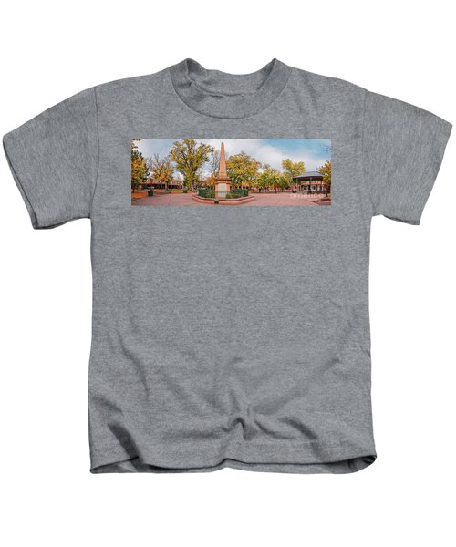 Early Morning Panorama Of Santa Fe Plaza - New Mexico Land Of Enchantment Kids T-Shirt