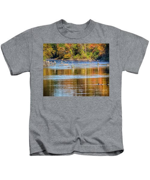 Fall Fishing Reflections Kids T-Shirt