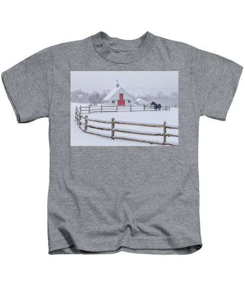 Farm In The Snow Kids T-Shirt
