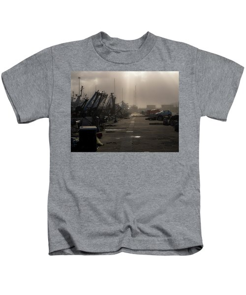 Fishing Boats Moored In The Harbor Kids T-Shirt