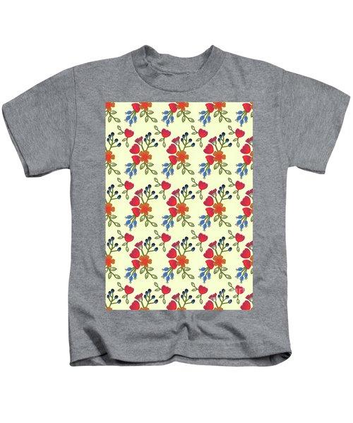 Flora Print, Cut Paper Kids T-Shirt
