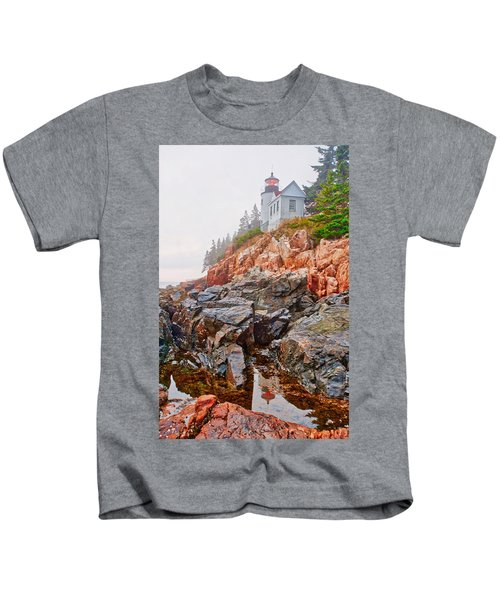 Foggy Bass Harbor Lighthouse Kids T-Shirt