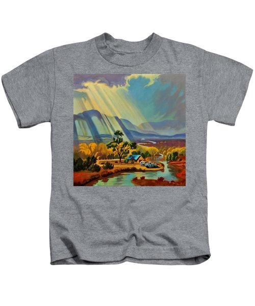 God Rays On A Blue Roof Kids T-Shirt