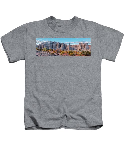 Golden Hour Fall Panorama Of Plaza Blanca - Abiquiu Rio Arriba County New Mexico Kids T-Shirt