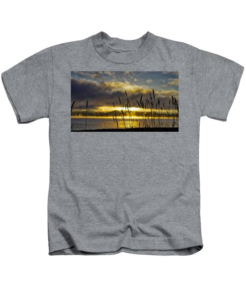 Grassy Shoreline Sunrise Kids T-Shirt