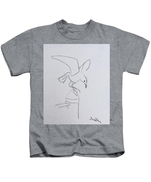 Gull On Pier Kids T-Shirt
