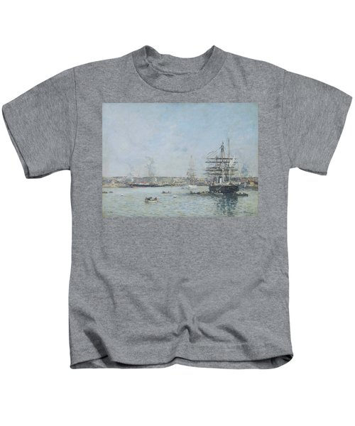 Havre, Russian Corvette In The Eure Bassin, 1888 Kids T-Shirt