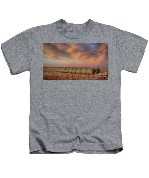 Hay Bales On The High Plains Kids T-Shirt