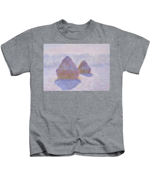 Haystacks, Effect Of Snow And Sun - Digital Remastered Edition Kids T-Shirt