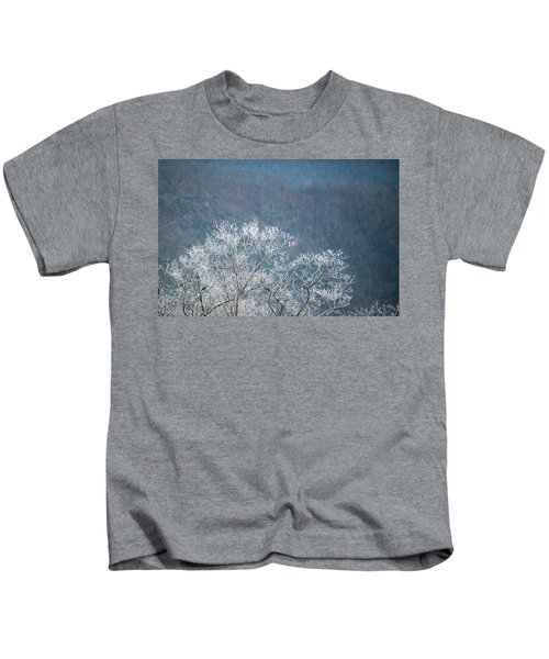 Hoarfrost Collects On Branches Kids T-Shirt
