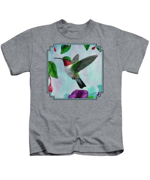 Hummingbird Flying In Spring Flower Garden 2 Kids T-Shirt