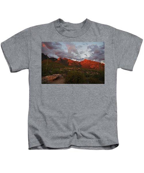 Last Light On Catalina Mountains Kids T-Shirt