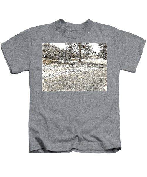 Lazy Days In The Park In Black And White With Sepia Tones Kids T-Shirt
