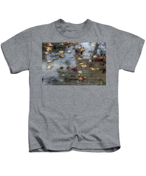 Leaves In The Rain Kids T-Shirt