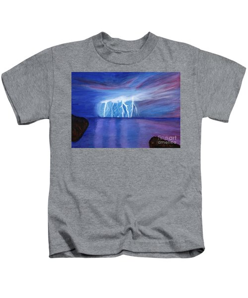 Lightning On The Sea At Night Kids T-Shirt