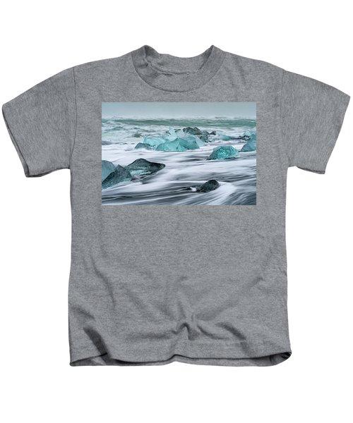 Long Exposure At The Jokulsarlon Ice Beach Kids T-Shirt