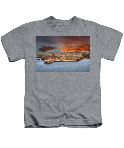 Looking Across Harbor From Fort St Elmo To  Fort Rikasoli Kids T-Shirt