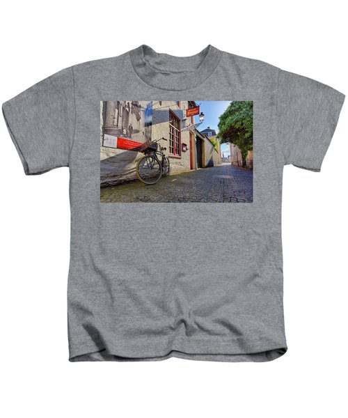 Lux Cobblestone Road Brugge Belgium Kids T-Shirt