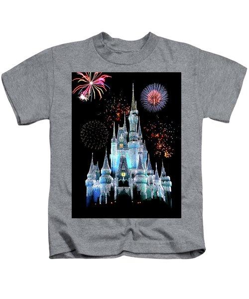 Magic Kingdom Castle In Frosty Light Blue With Fireworks 06 Kids T-Shirt