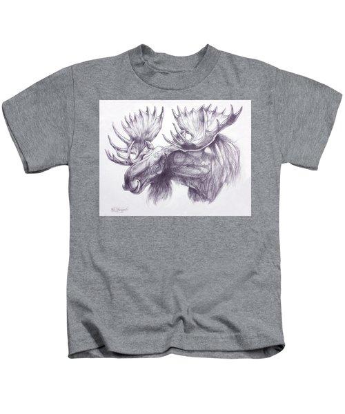 Maligne Lake Moose Kids T-Shirt