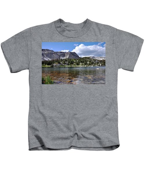 Medicine Bow Peak And Mirror Lake Kids T-Shirt