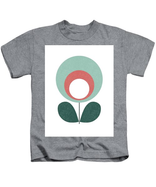 Mid Century Modern Teal Flower 3 Kids T-Shirt