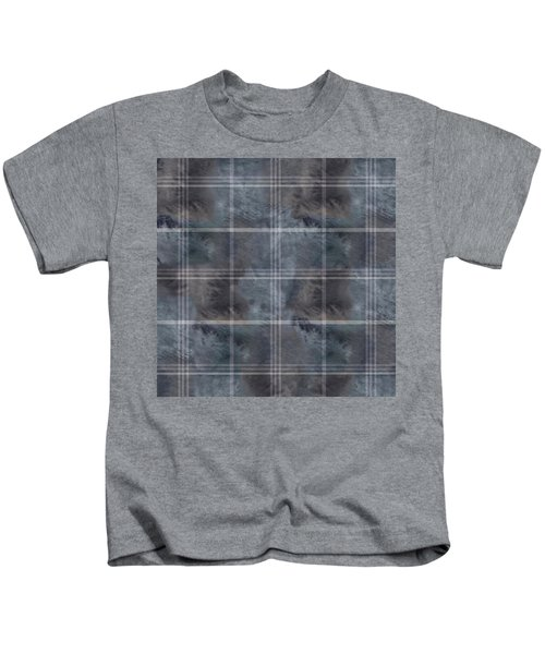 Moody Blue Plaid Kids T-Shirt