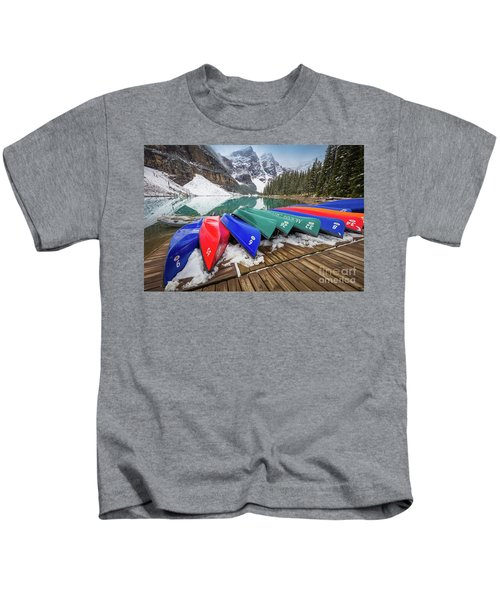 Moraine Lake Canoes Kids T-Shirt