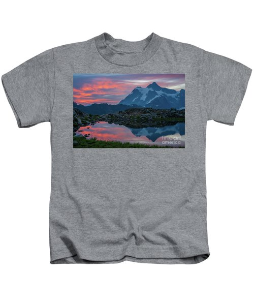 Mount Shuksan Sunrise Fire Kids T-Shirt