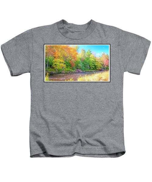 Mountain Stream In Early Autumn Kids T-Shirt