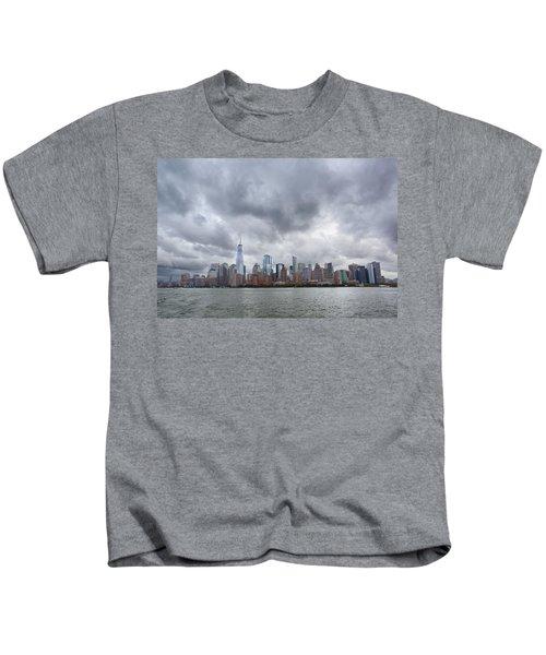 New York Stormy Skyline Kids T-Shirt