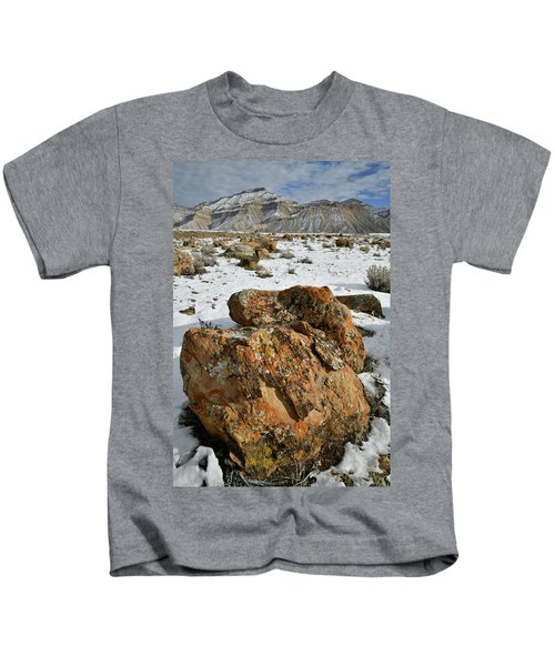 Ornate Colorful Boulders In The Book Cliffs Kids T-Shirt