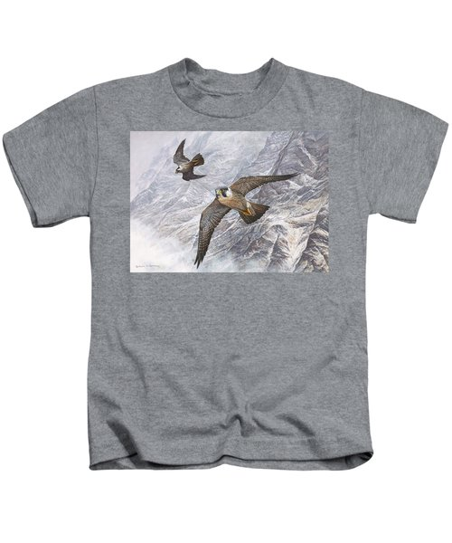 Pair Of Peregrine Falcons In Flight Kids T-Shirt