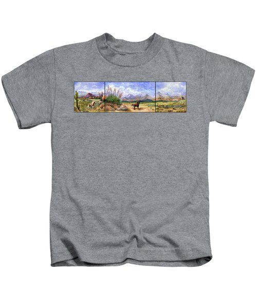 Panorama Triptych Don't Fence Me In  Kids T-Shirt