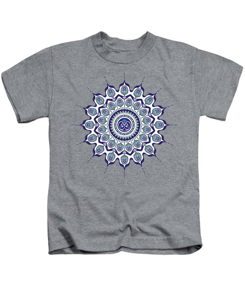 Peacock Feathers Mandala Kids T-Shirt
