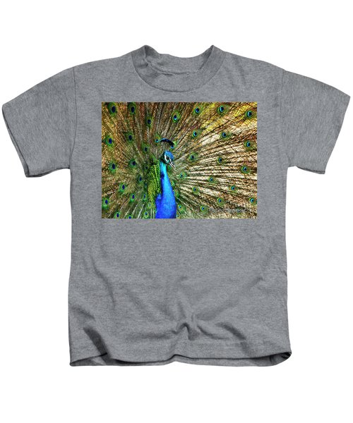 Peacock Full Bloom Kids T-Shirt
