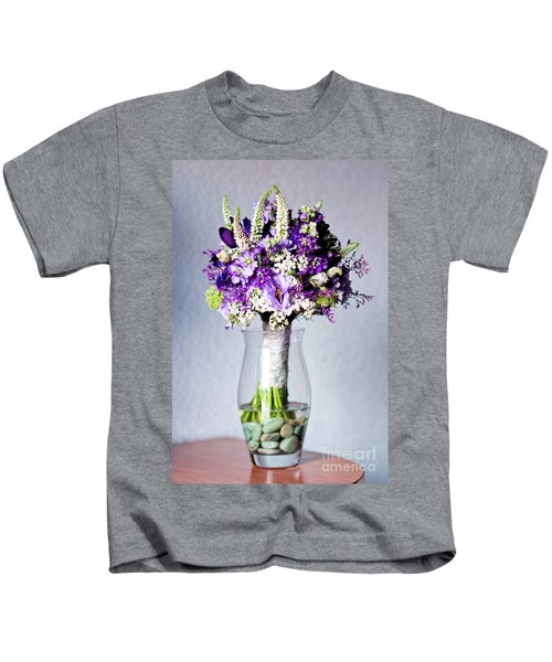 Perfect Bridal Bouquet For Colorful Wedding Day With Natural Flowers. Kids T-Shirt
