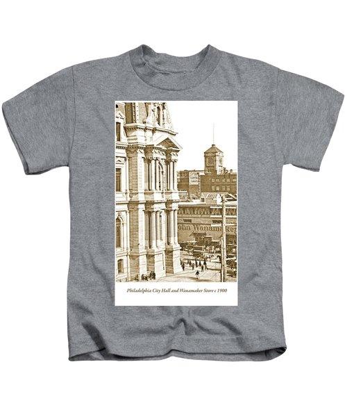 Philadelphia City Hall And Wanamaker Store C 1900 Vintage Photog Kids T-Shirt