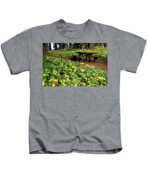 Picnic  Table In The Forest  Kids T-Shirt