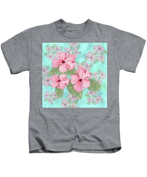 Pink Hibiscus Print On Aqua Kids T-Shirt