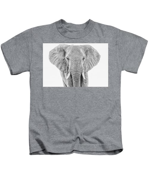 Portrait Of An African Elephant Bull In Monochrome Kids T-Shirt