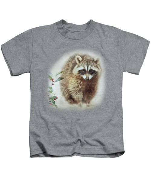 Raccoon In Winterberry Kids T-Shirt