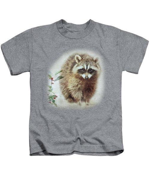 Raccoon In Winterberry Kids T-Shirt