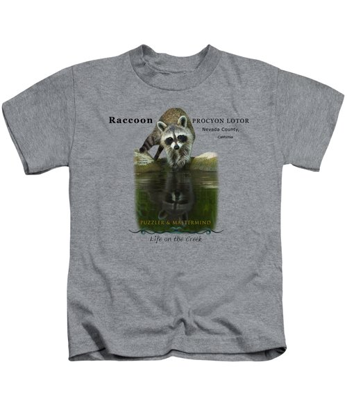 Raccoon Puzzler And Mastermind Kids T-Shirt