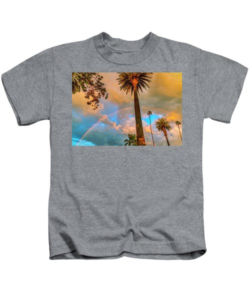 Rainbow Over The Palms Kids T-Shirt